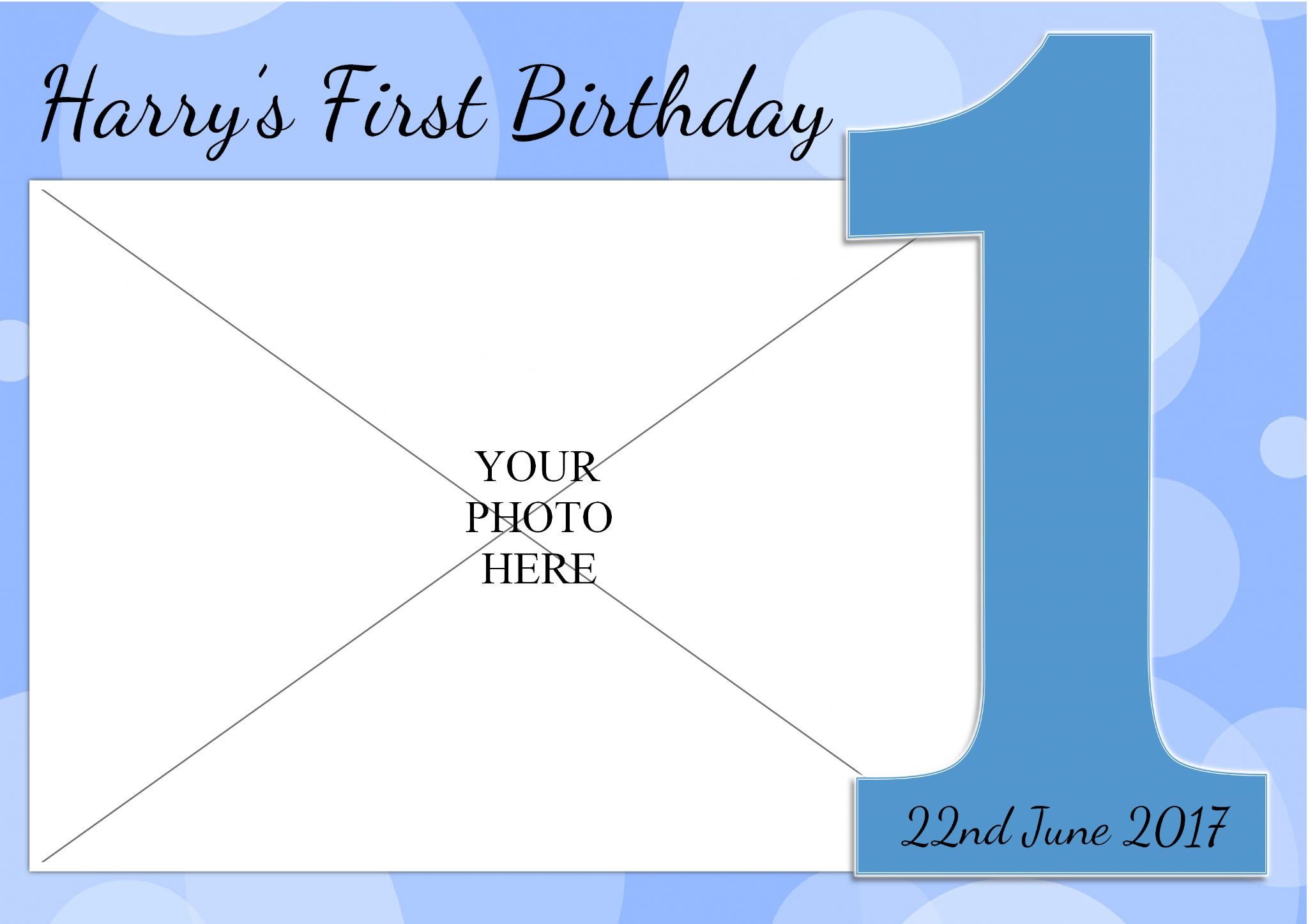 Personalised Boys 1st First Happy Birthday Party Photo